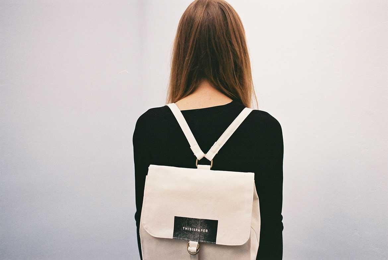 White Vintage Back Pack For Girl